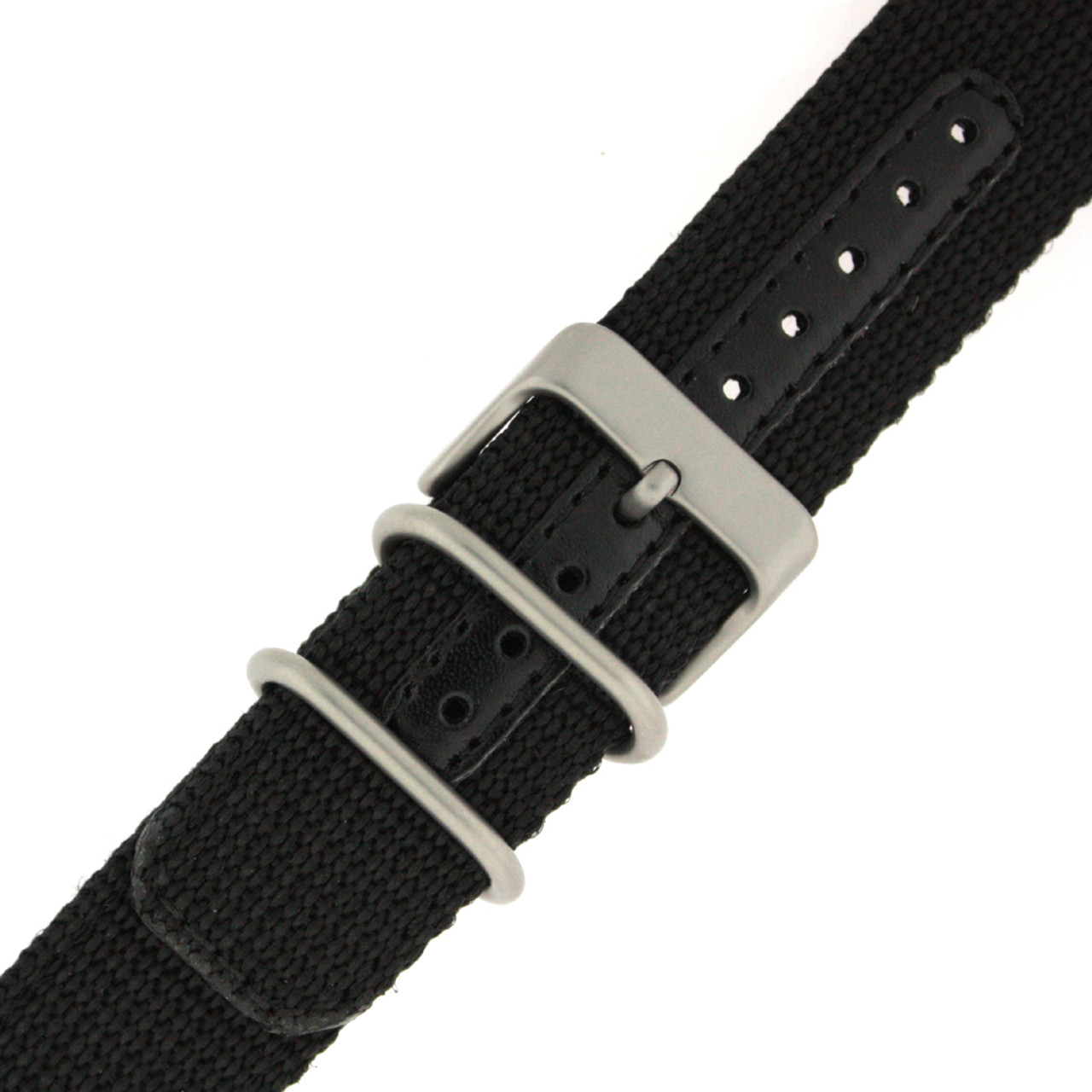 Nylon Watch Band Military Sport Strap Black Stainless Heavy Buckle