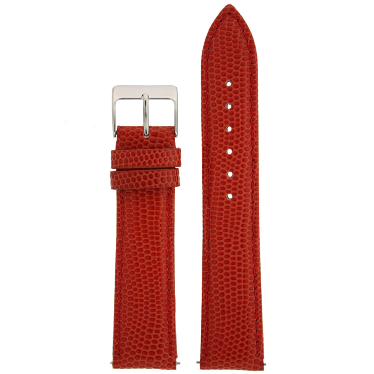 Watch Band Genuine Leather Lizard Grain Red Quick Release Built-in Pins