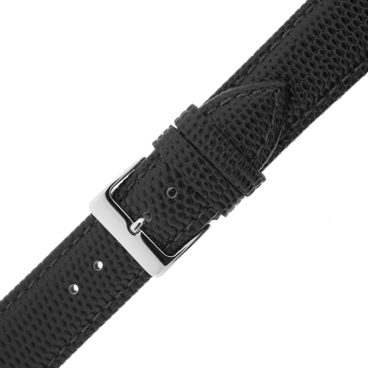 Watch Band Genuine Leather Lizard Grain Black Quick Release Built-in Pins