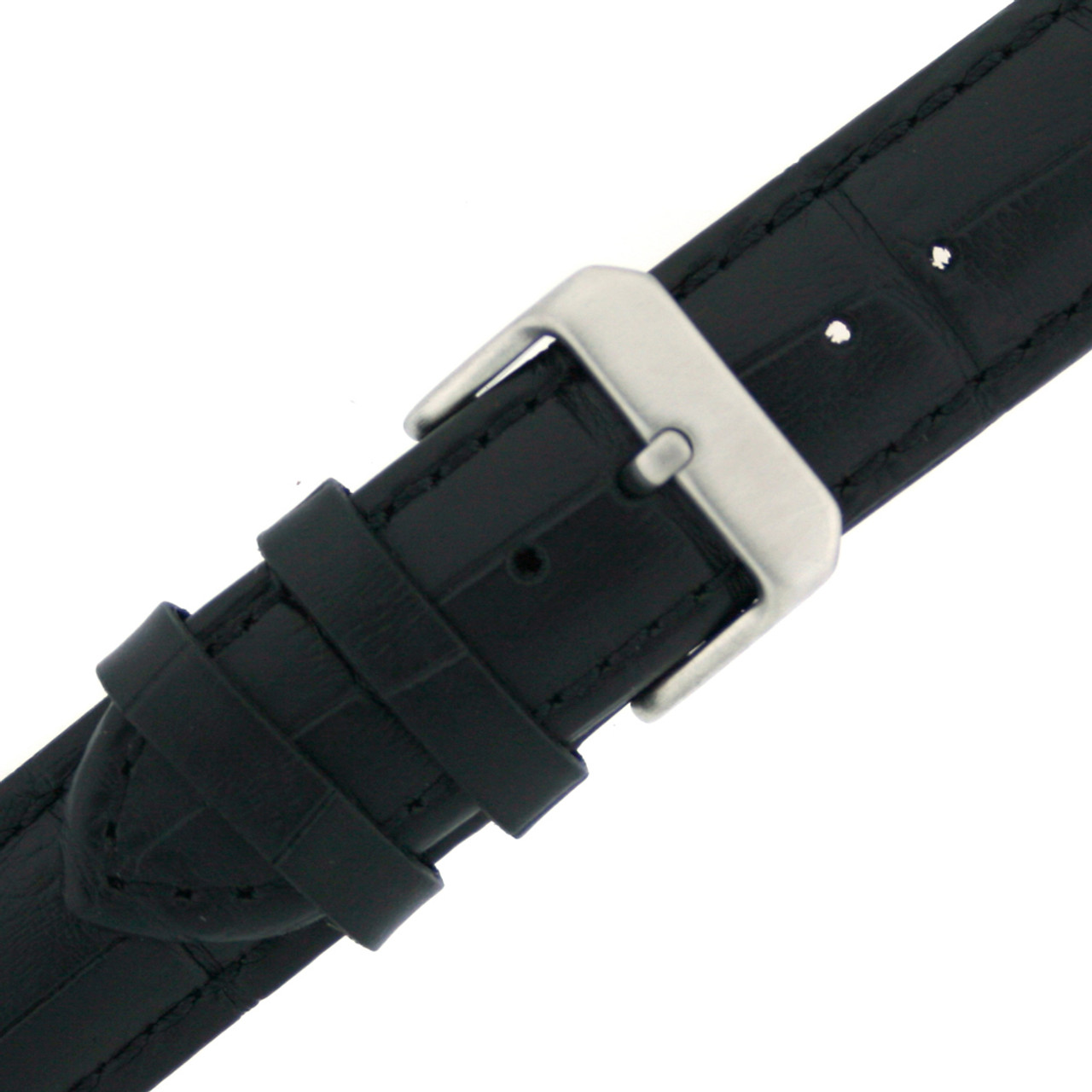 Leather Watch band by Tech Swiss in Black - Buckle View