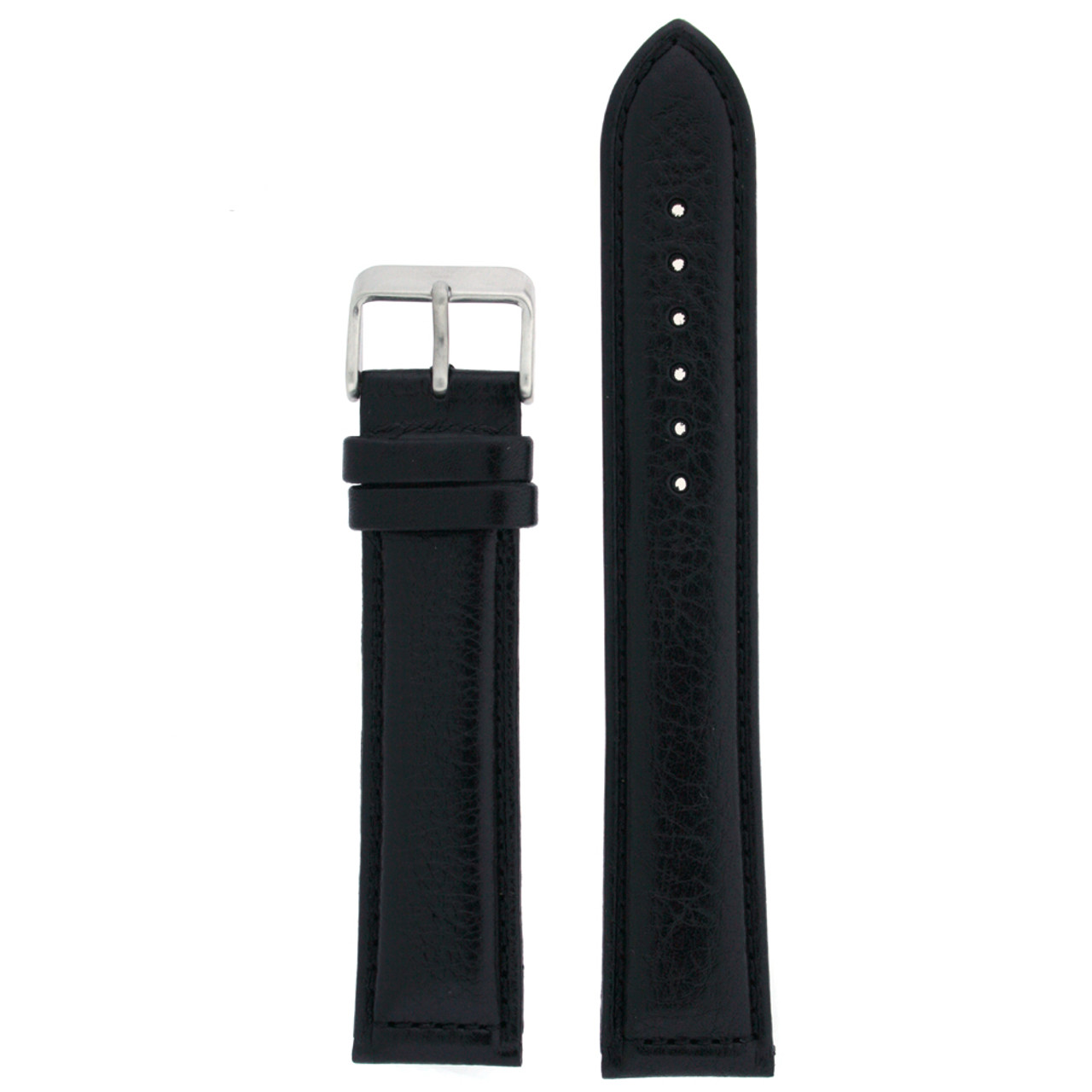 Extra Long Watch Band in Black Leather by Tech Swiss - Top View