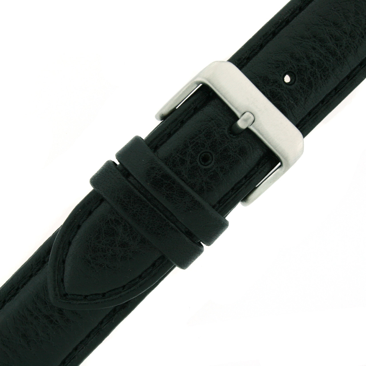 Extra Long Watch Band in Black Leather by Tech Swiss - Buckle View