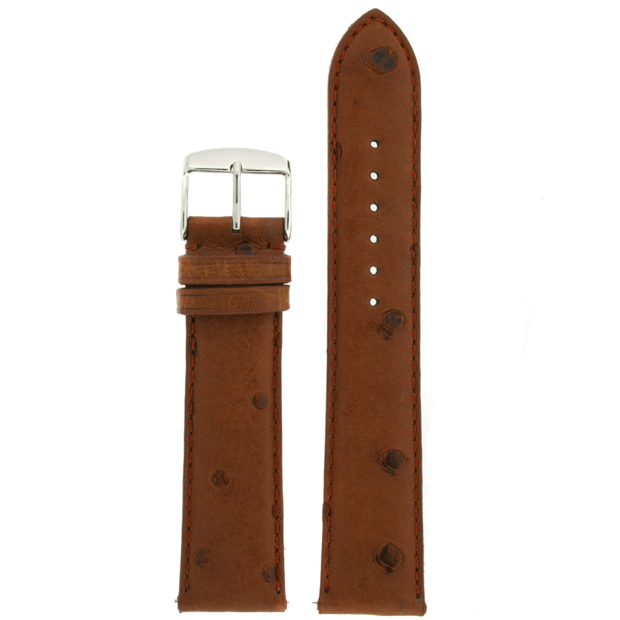 Brown Ostrich Leather Band front