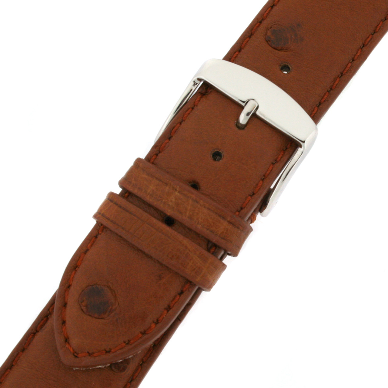 Brown Ostrich Leather Band silver toned buckle