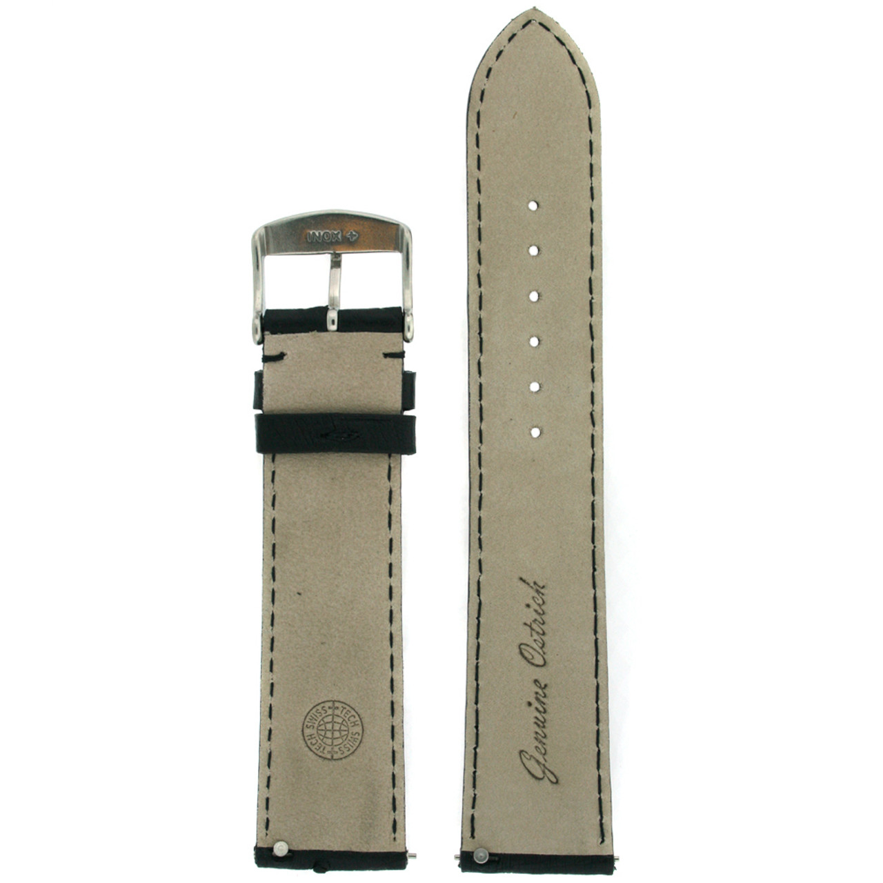 Watch band in genuine ostrich Leather in black - interior look - Main