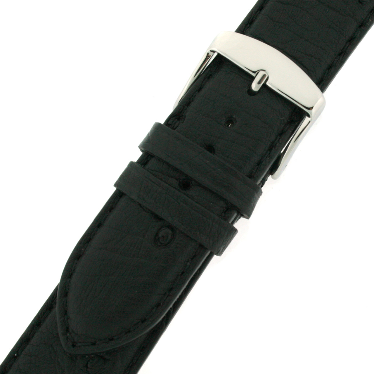 Watch band in genuine ostrich leather in black with stainless steel buckle option