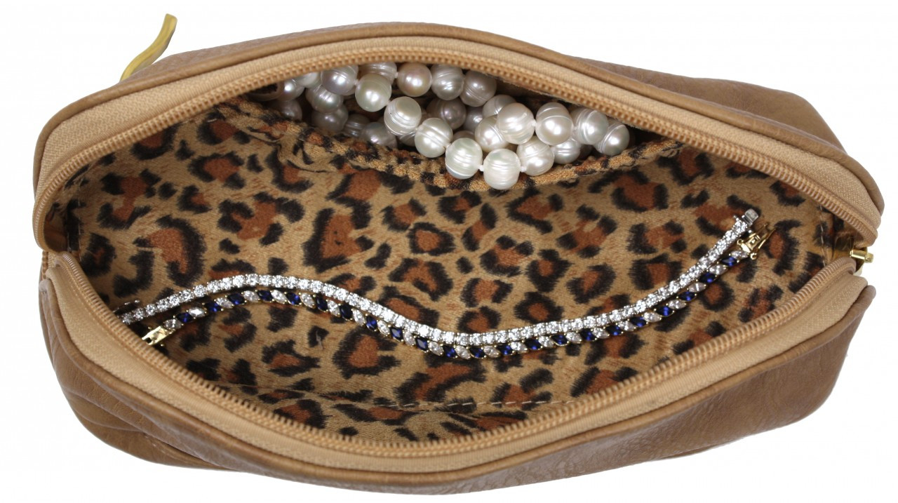 The Weekender - Travel Makeup Jewelry Case Camel Leopard Print