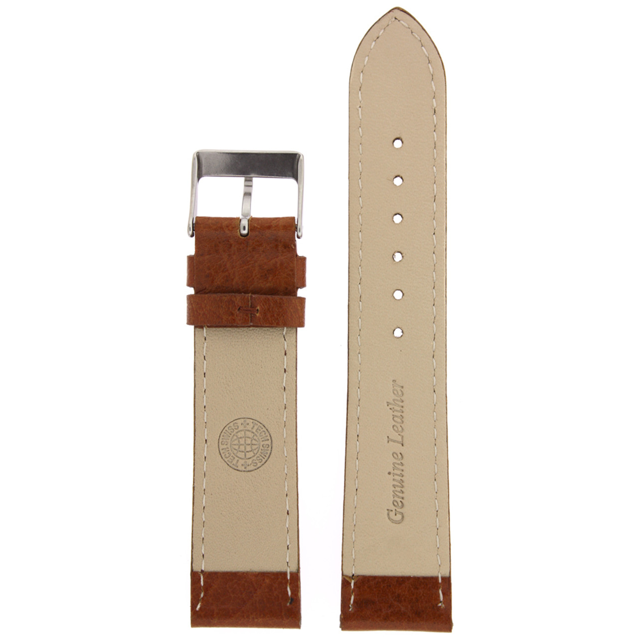 Leather Watch Band in Honey Brown by Tech Swiss - Bottom View - Main