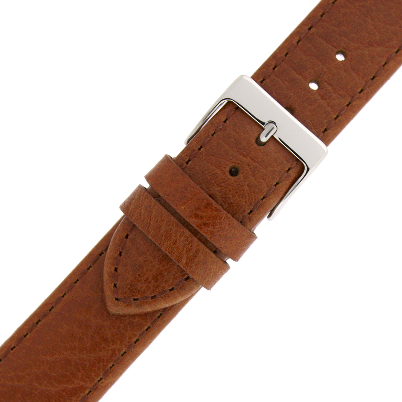 Leather Watch Band in Honey Brown by Tech Swiss - Buckle View