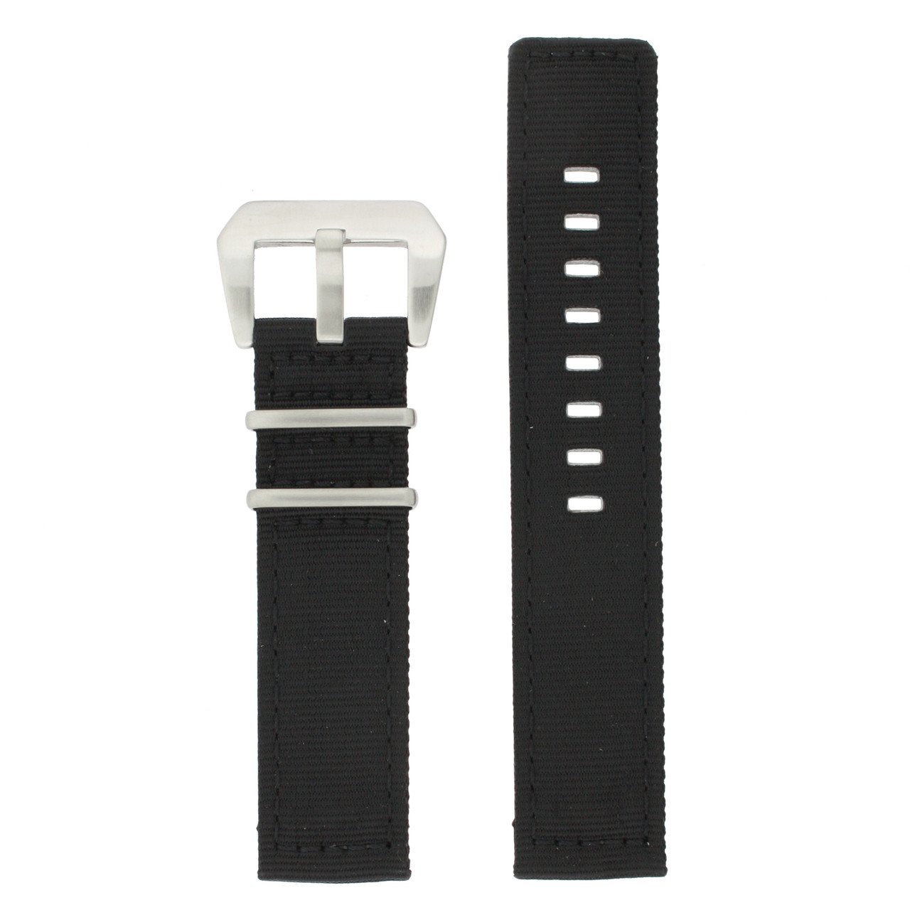 Nylon Watch Band in Black by Tech Swiss - Top View