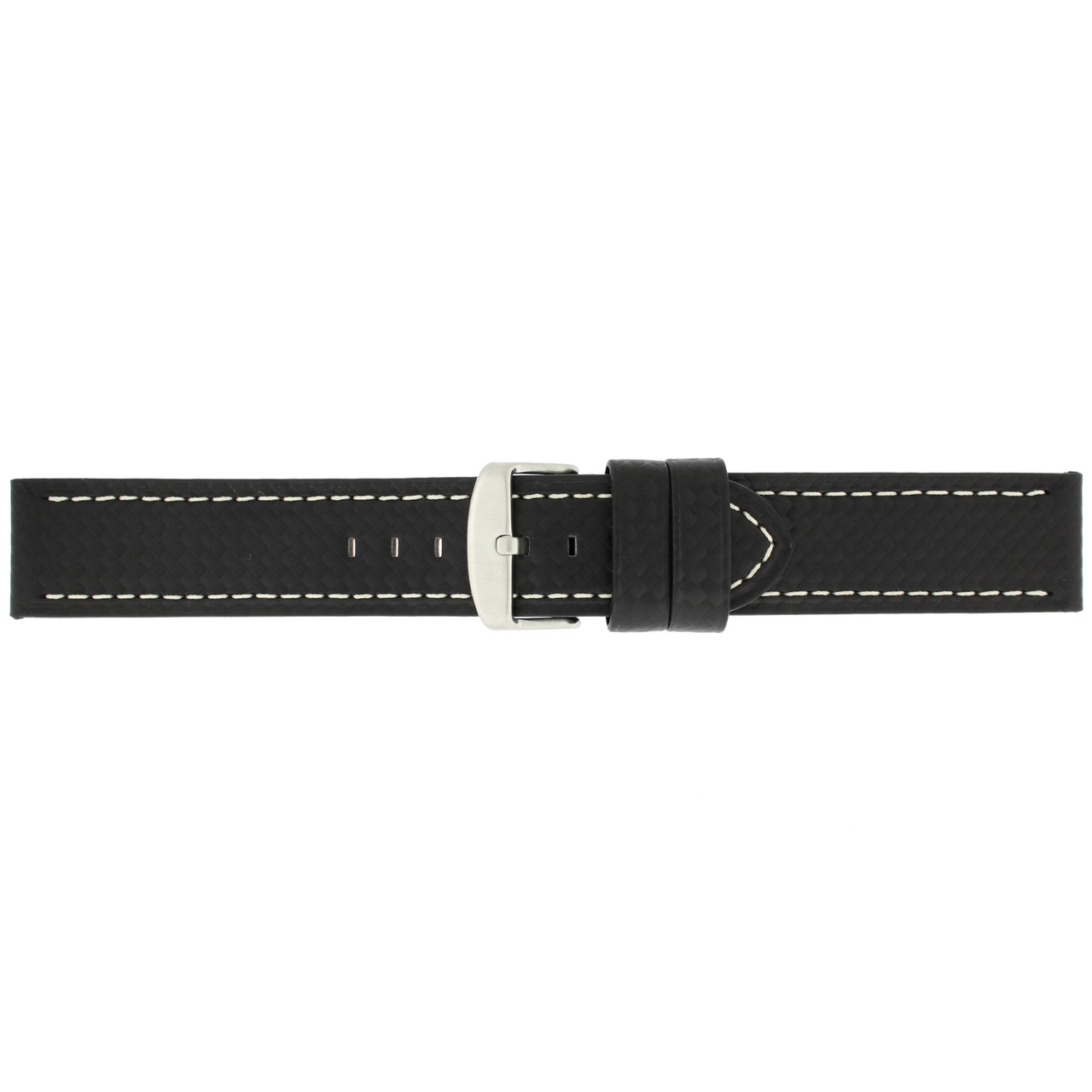 Long Watch Band in Black Carbon Fiber Print - Buckle View