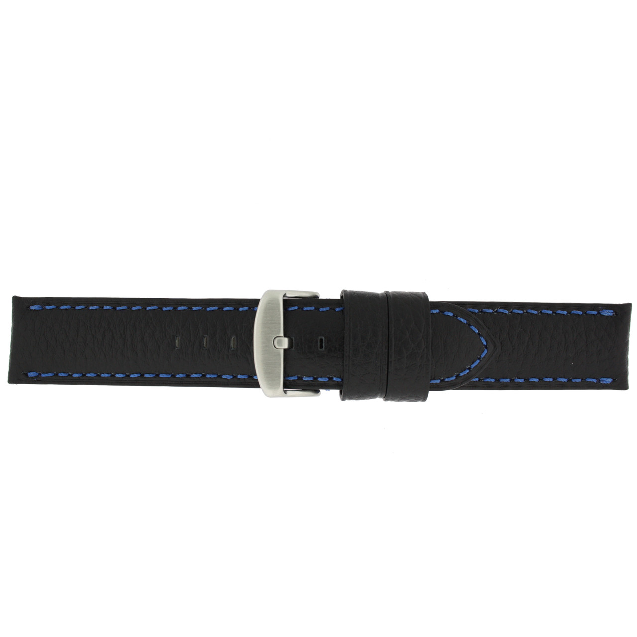 Long Black Leather Watch band with Blue Topstitching - Buckle View