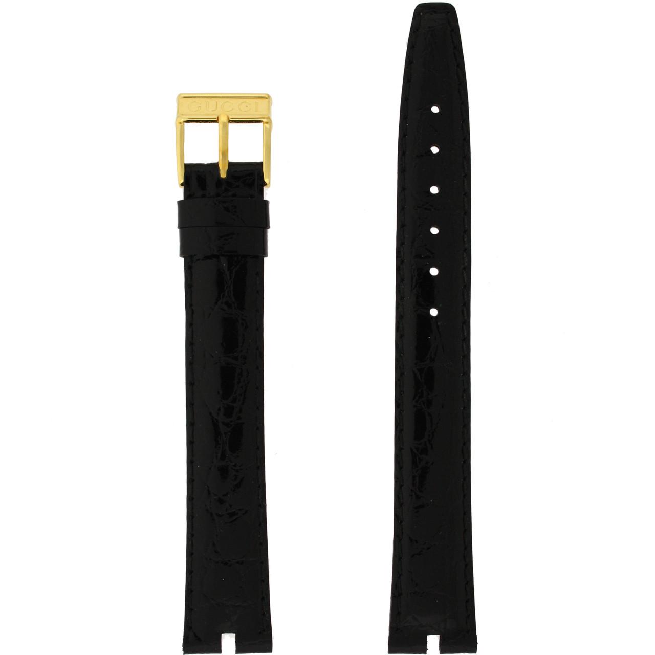 Gucci Watch Band 16mm Black Crocodile Grain model 2000M