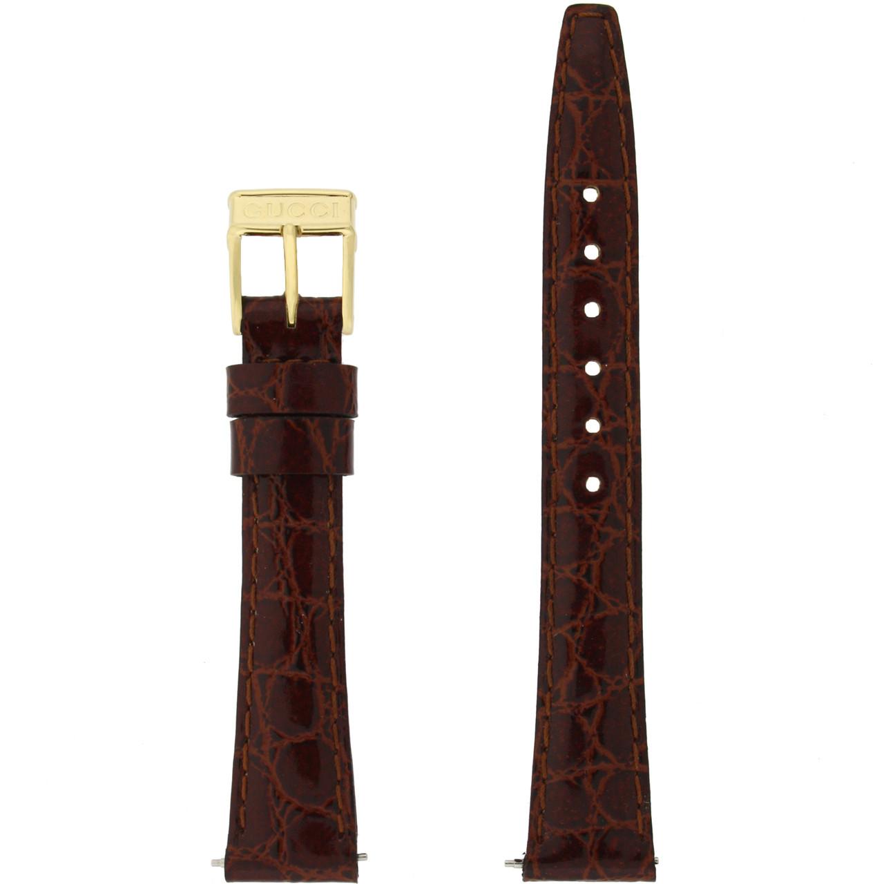 Gucci Watch Strap 13mm Brown models 2200L 3000L Crocodiledile Grain - Main front