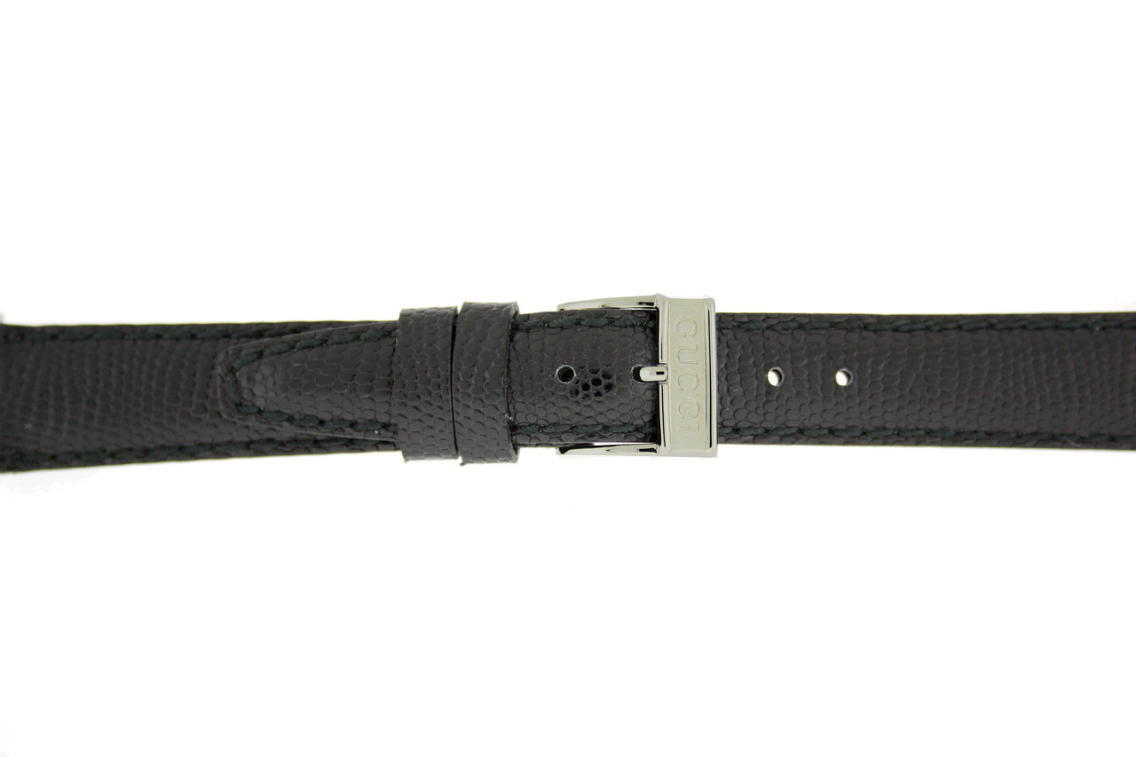 Gucci Watch Strap 14mm Black Genuine Lizard 6300L - Main