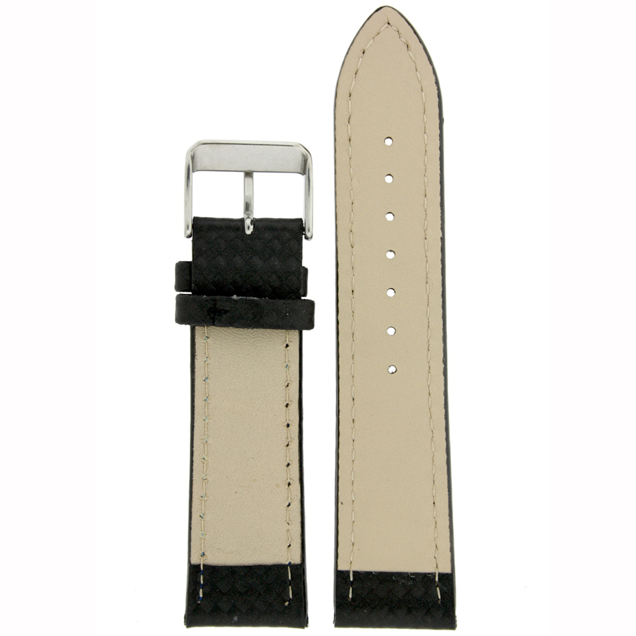 Carbon Fiber Print Leather Watch Band in Black - Bottom View