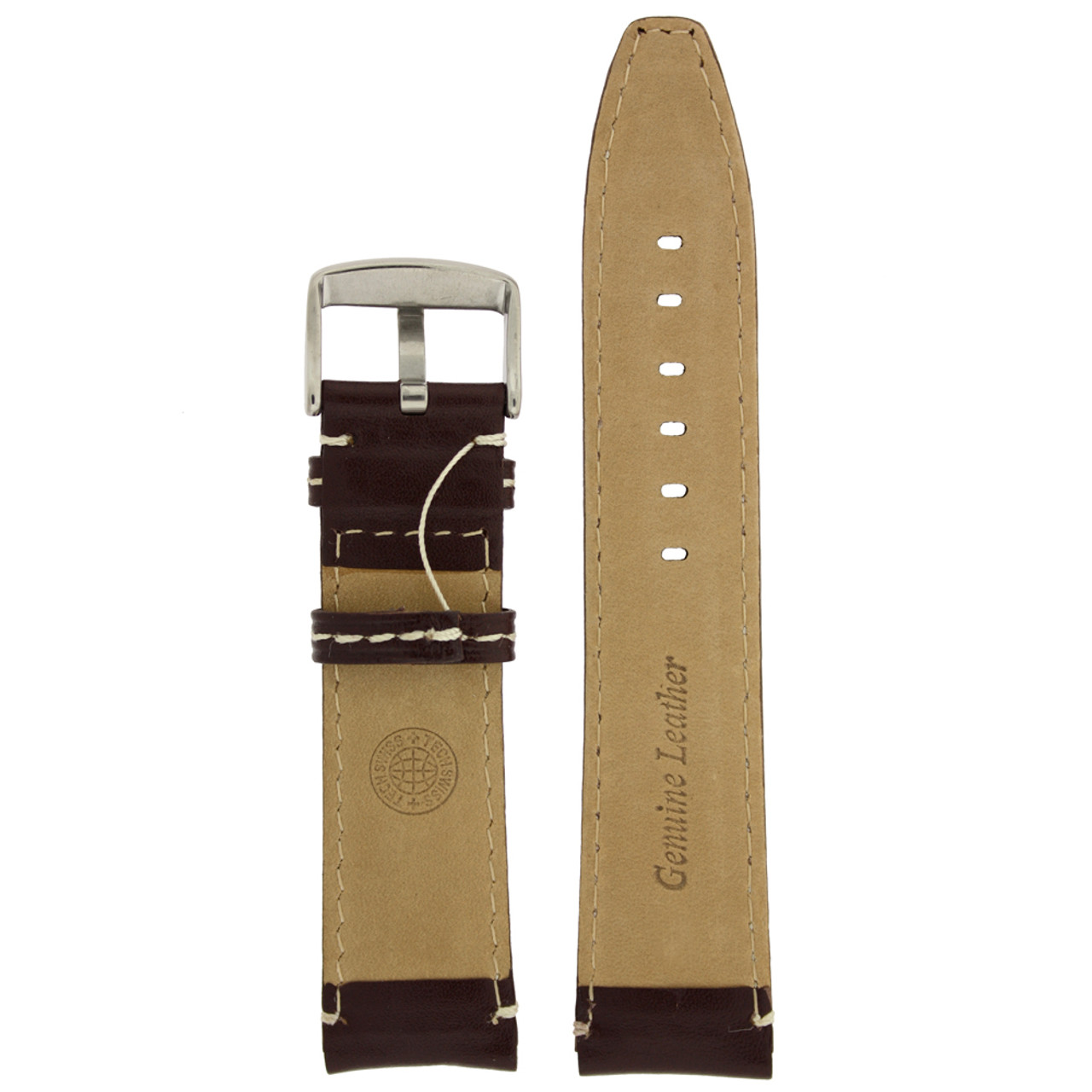 Leather Watch Band in brown with white topstitching by Tech Swiss - Bottom View - Main