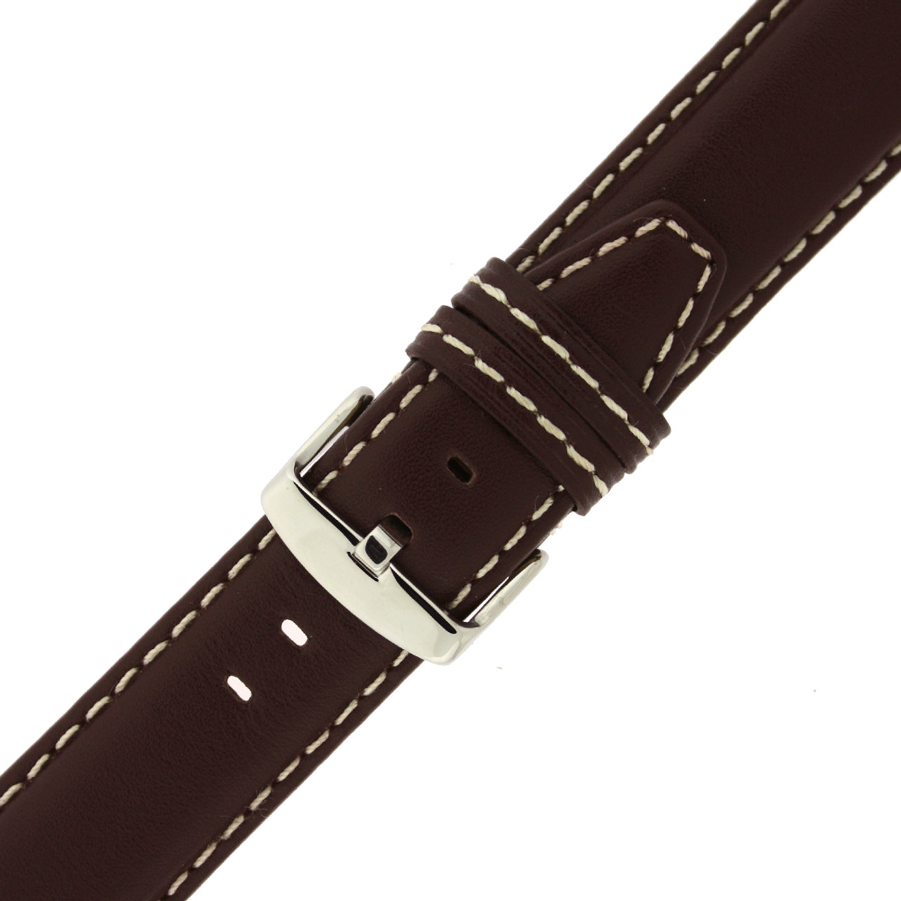 Brown Leather Watch Band With White Stitching, Padding, & Extra Loop Connection