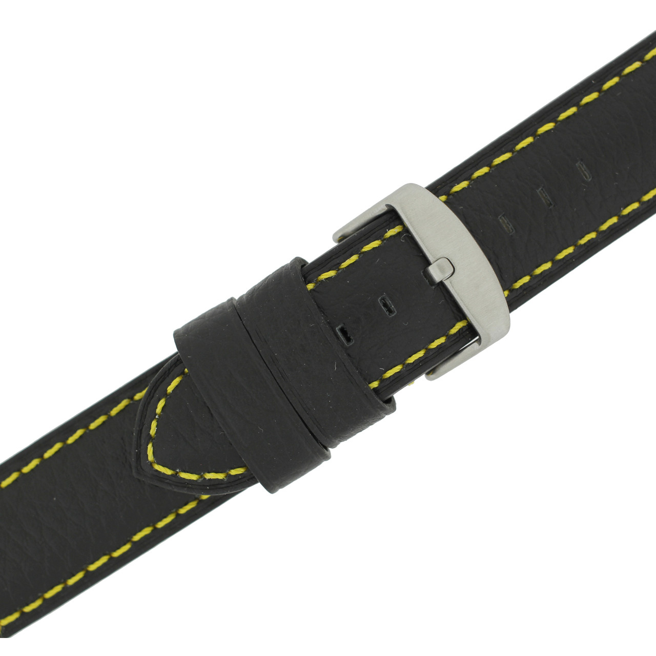 Long Black Leather Watch Band with Yellow Topstitching - Buckle View