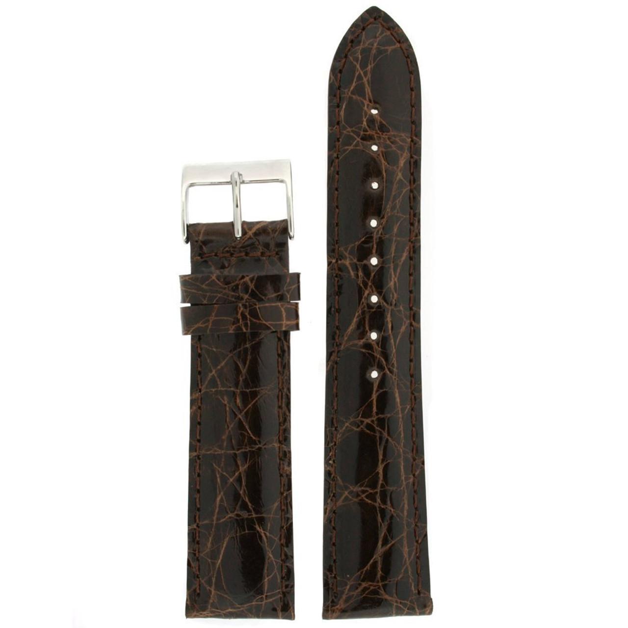 Genuine Crocodile Watch Band Dark Brown Stitching Padded