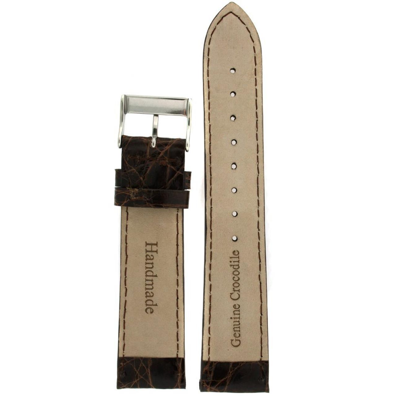 Genuine Crocodiledile Watch Band Dark Brown Stitching Padded - Main