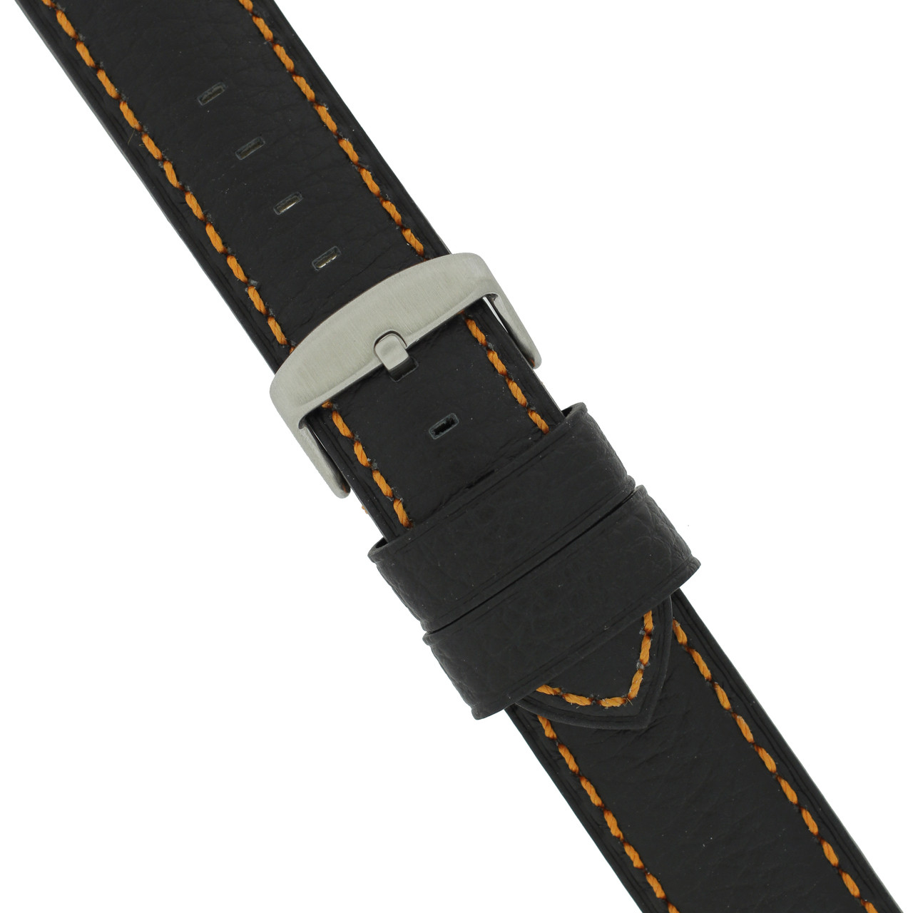 Long Black Watch Band with Orange Topstitching - Buckle View
