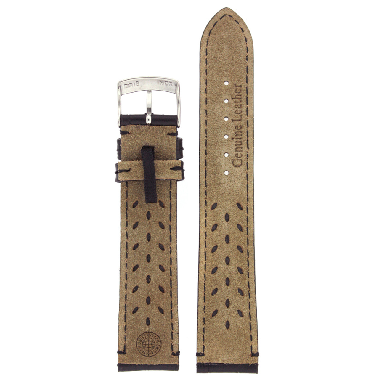 Black Alligator Grain Watch Band by Tech Swiss - Interior View