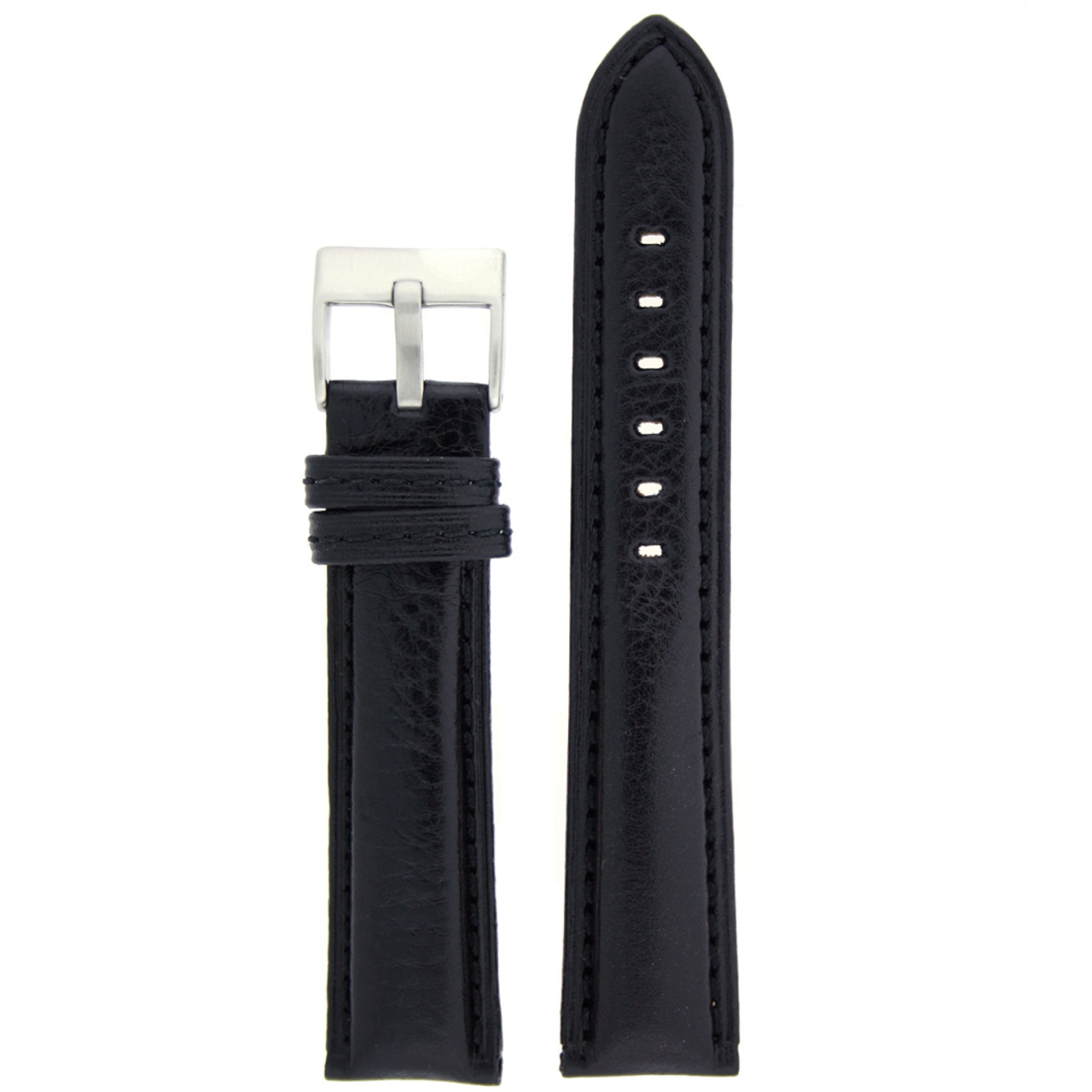 Leather Watch band in black by Tech Swiss - Front View