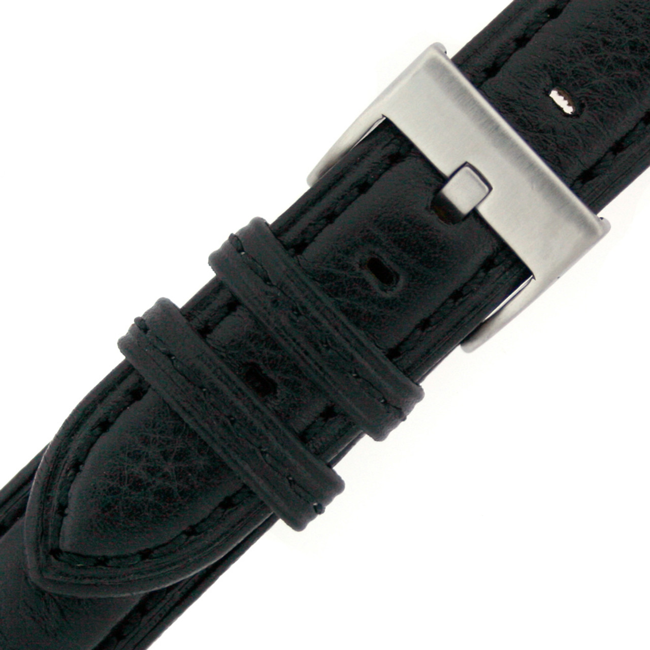 Leather Watch band in black by Tech Swiss - Buckle View