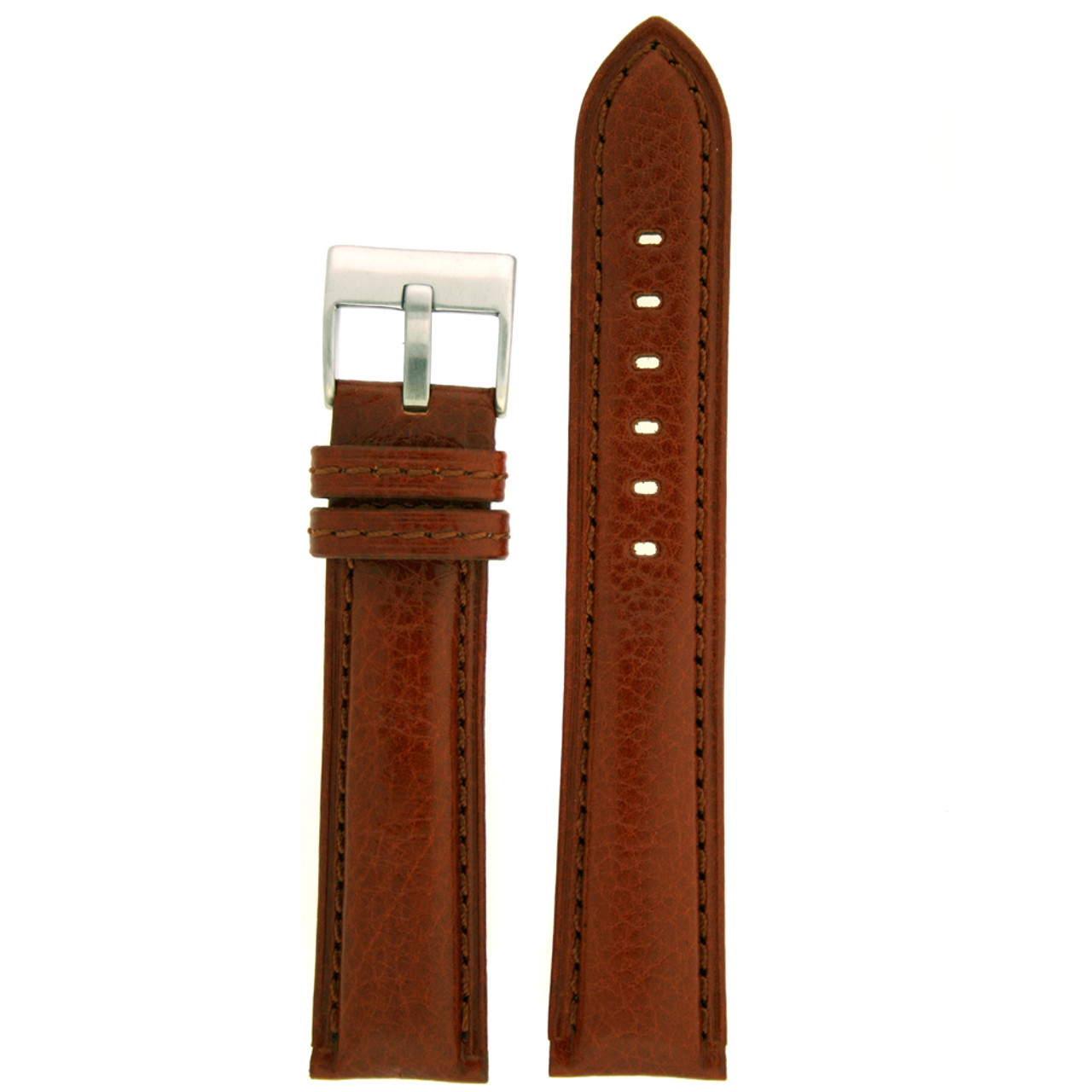 Leather Watch Band in brown by Tech Swiss - Top View