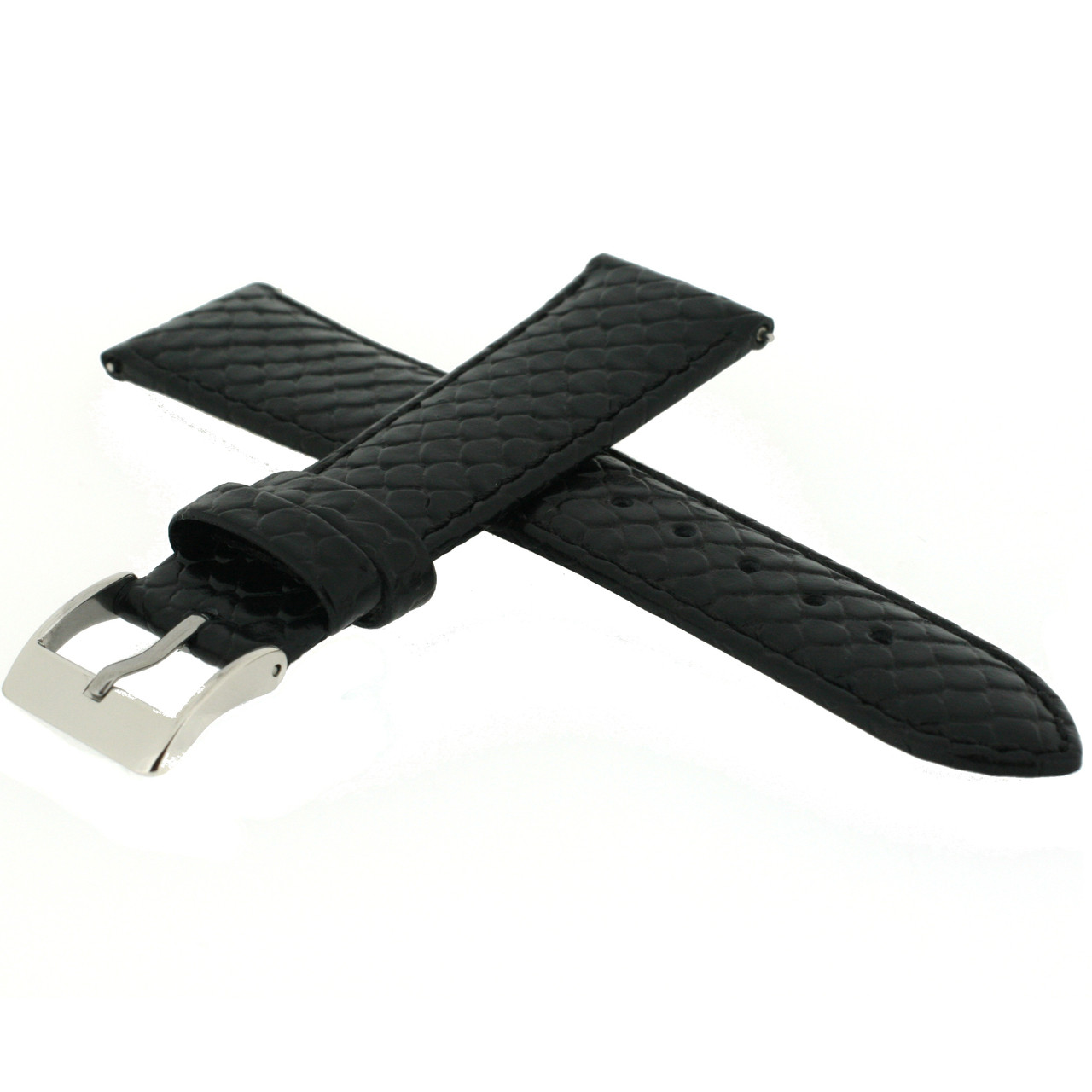 Genuine Leather Snake Grain Black Quick Release side view