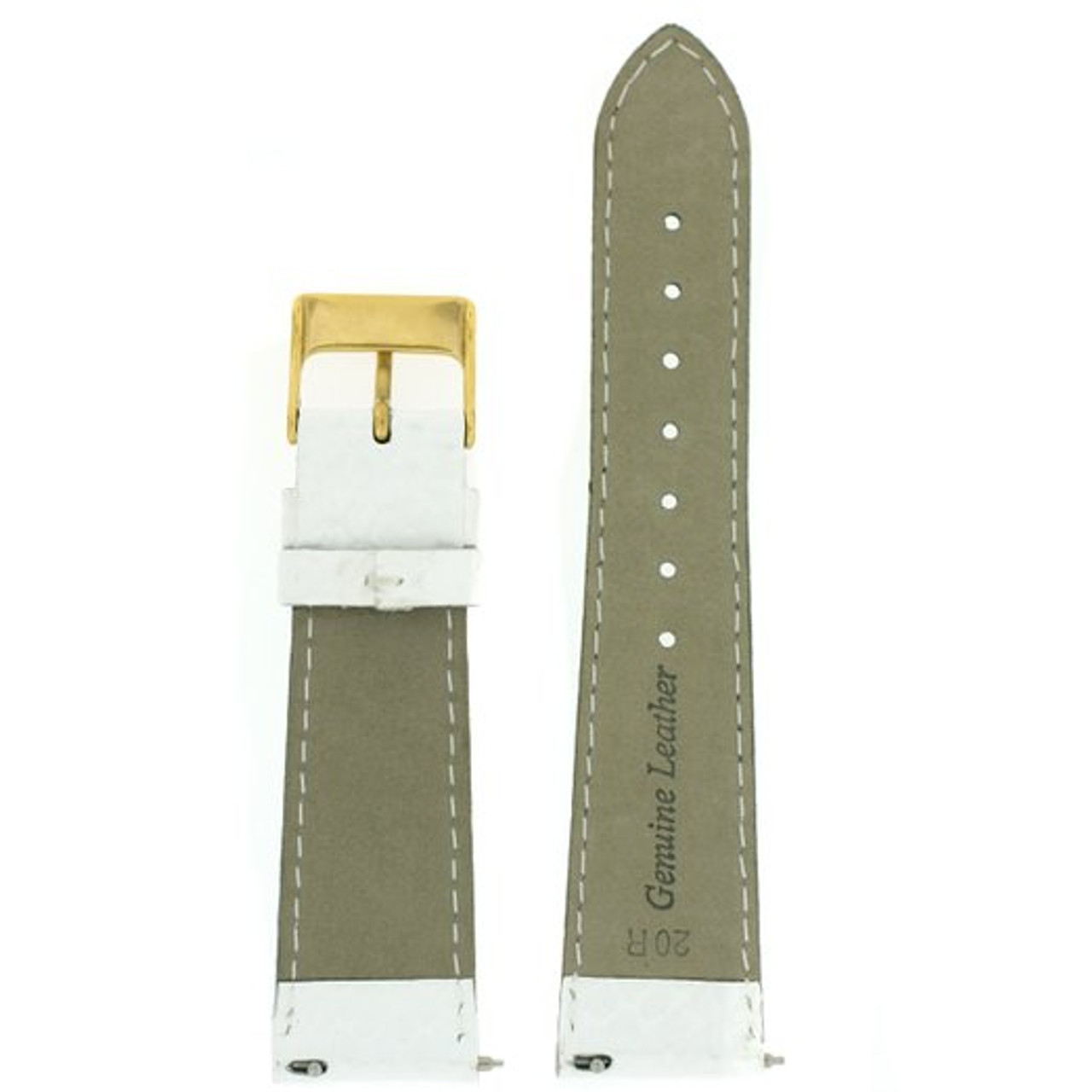 White Snake Grain Watch Band with Quick Release - Bottom View - Main