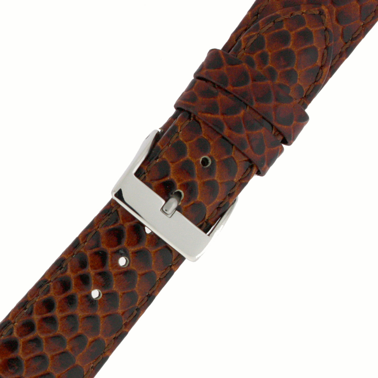 Genuine Leather Watch Band in Snake Grain and Quick Release - Buckle View