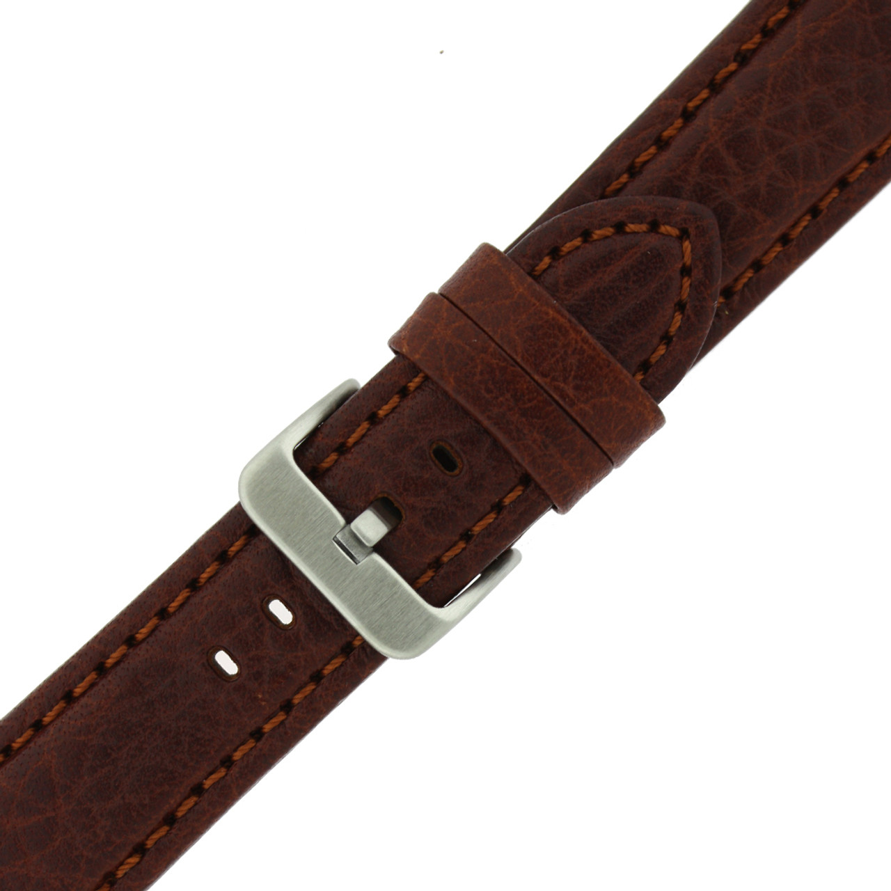 Genuine Leather Watch Band with Padding in Honey Brown - Buckle View