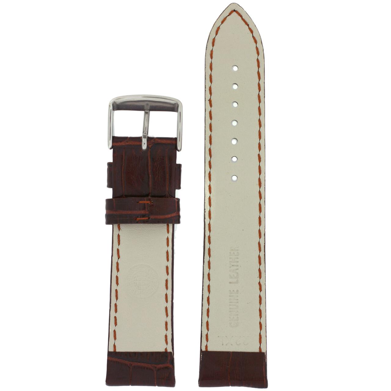 Extra Long Leather Crocodiledile Grain Watch Band - Bottom View - Main