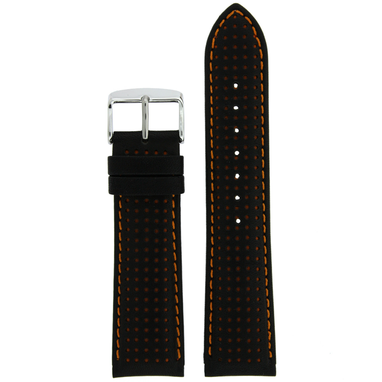 Black Leather Watch Band with Orange Trim - Top View