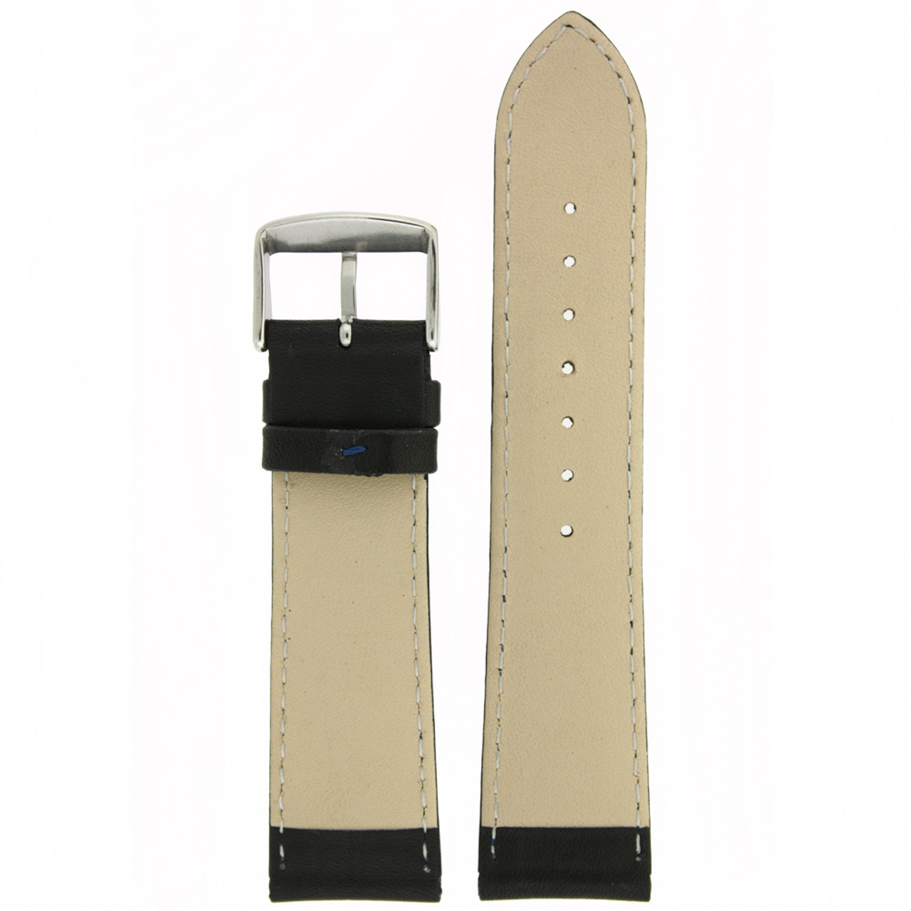 Black and Blue Leather Watch Band by Tech Swiss - Bottom View - Main