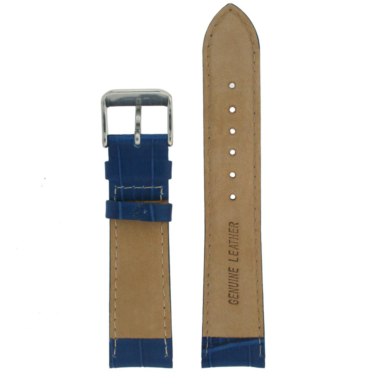 Blue Crocodiledile Grain Watch Band - Bottom View - Main