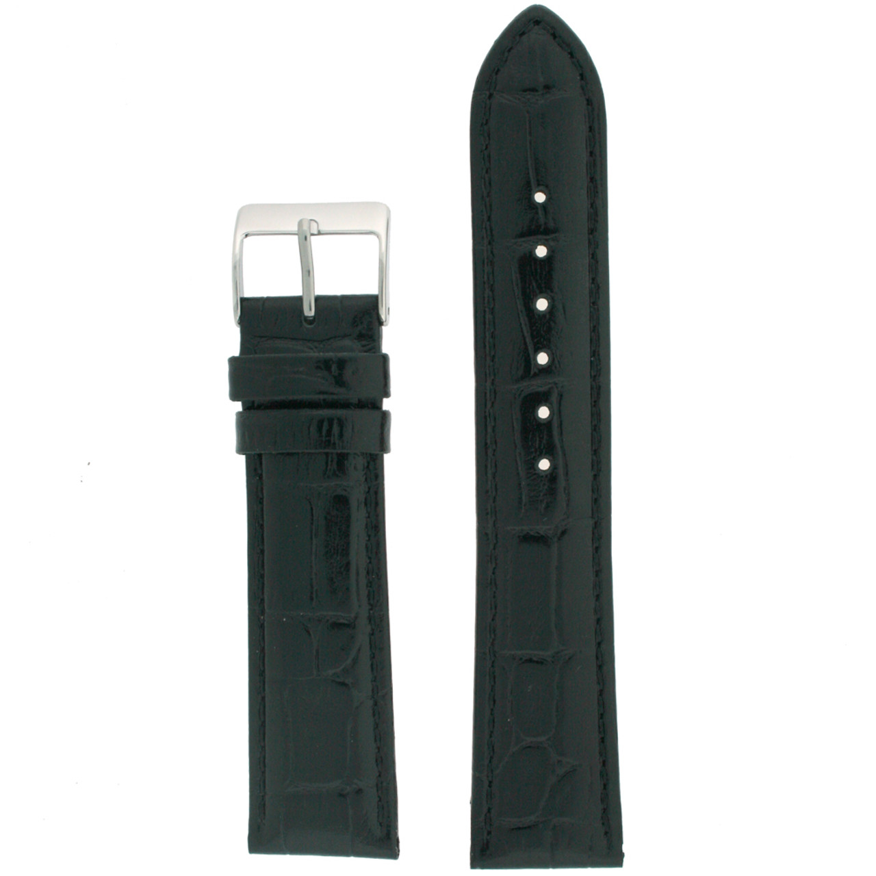 Black Crocodile Grain Watch Band - Top View