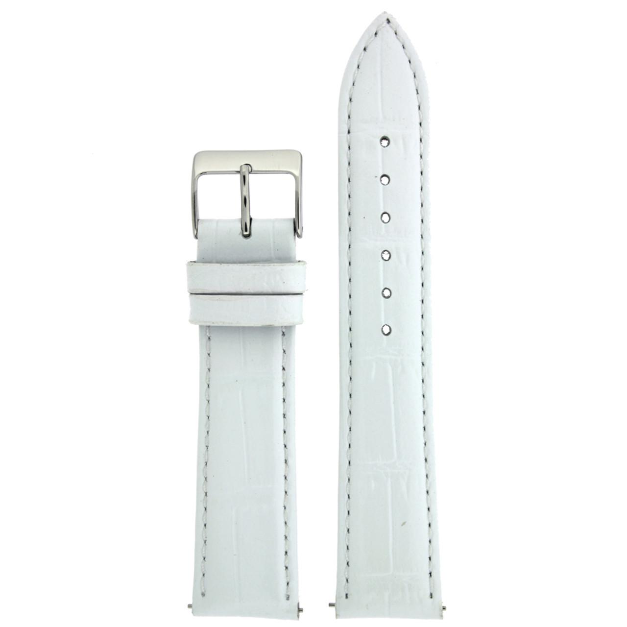 White Crocodile Grain Watch Band - Top View