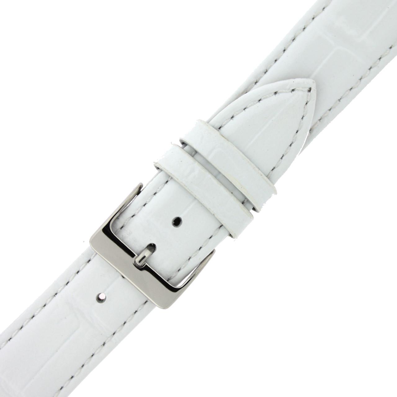 White Crocodile Grain Watch Band - Buckle View