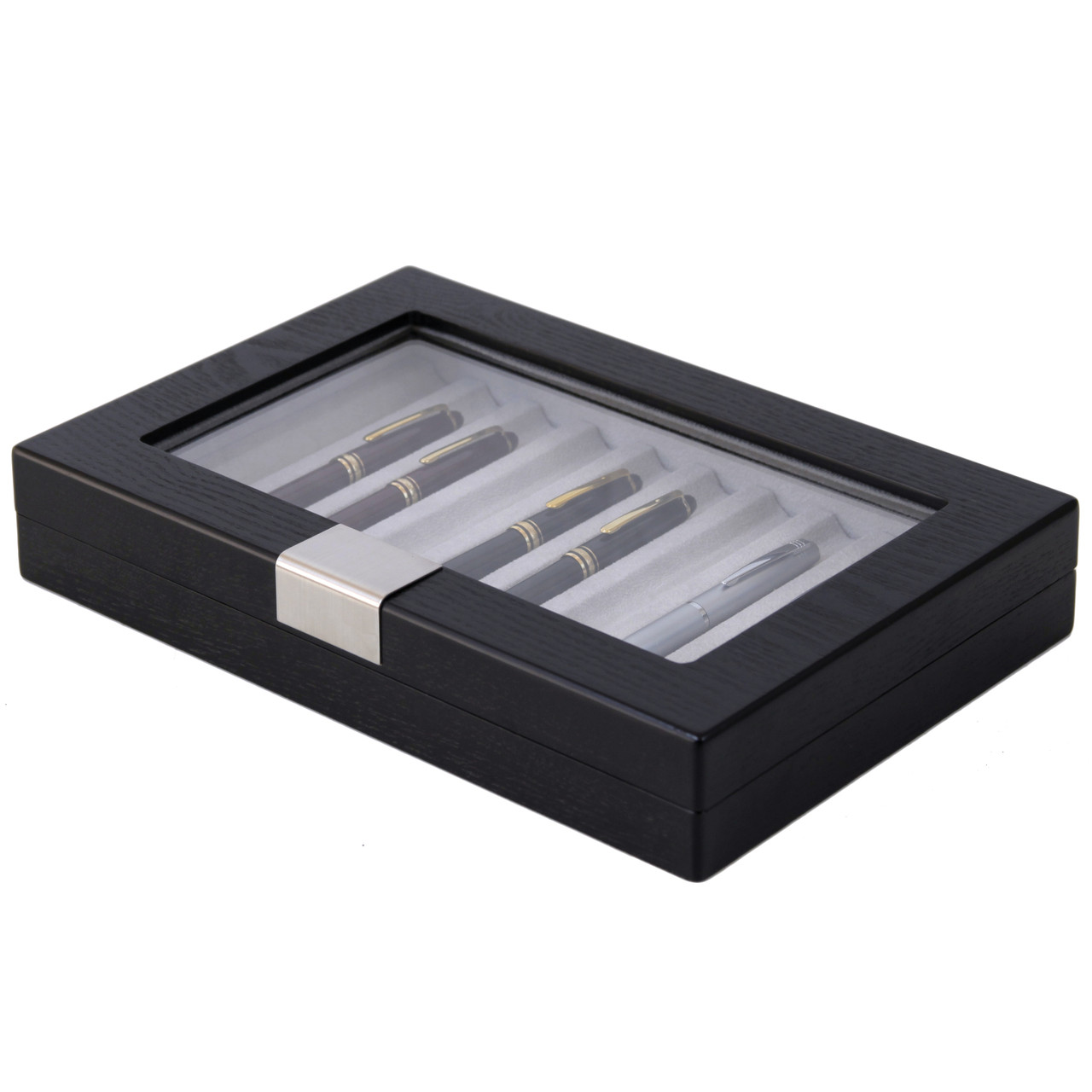 Pen Display Box in Black by Tech Swiss - Side View Closed
