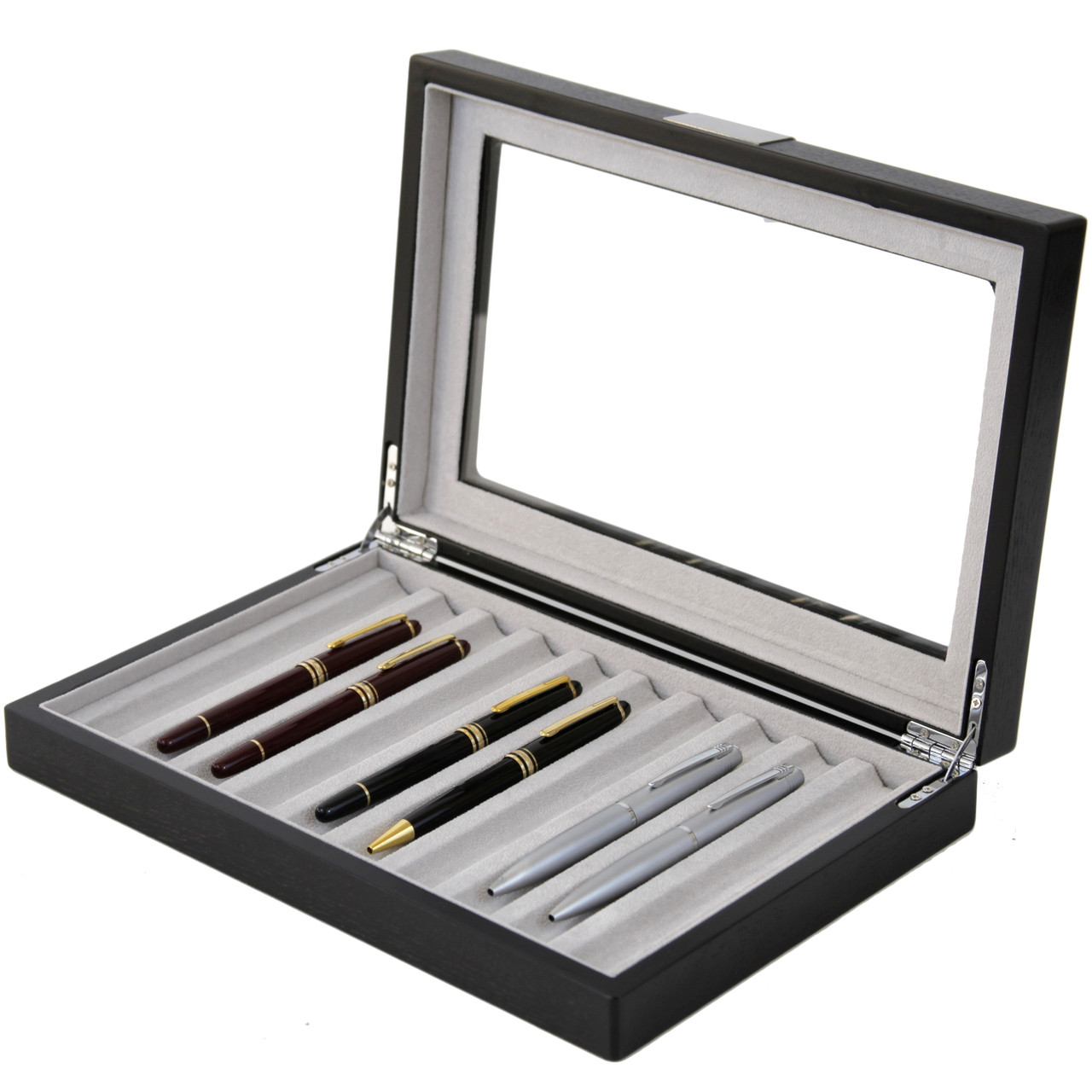Pen Display Box in Black by Tech Swiss - Side View Open - Main