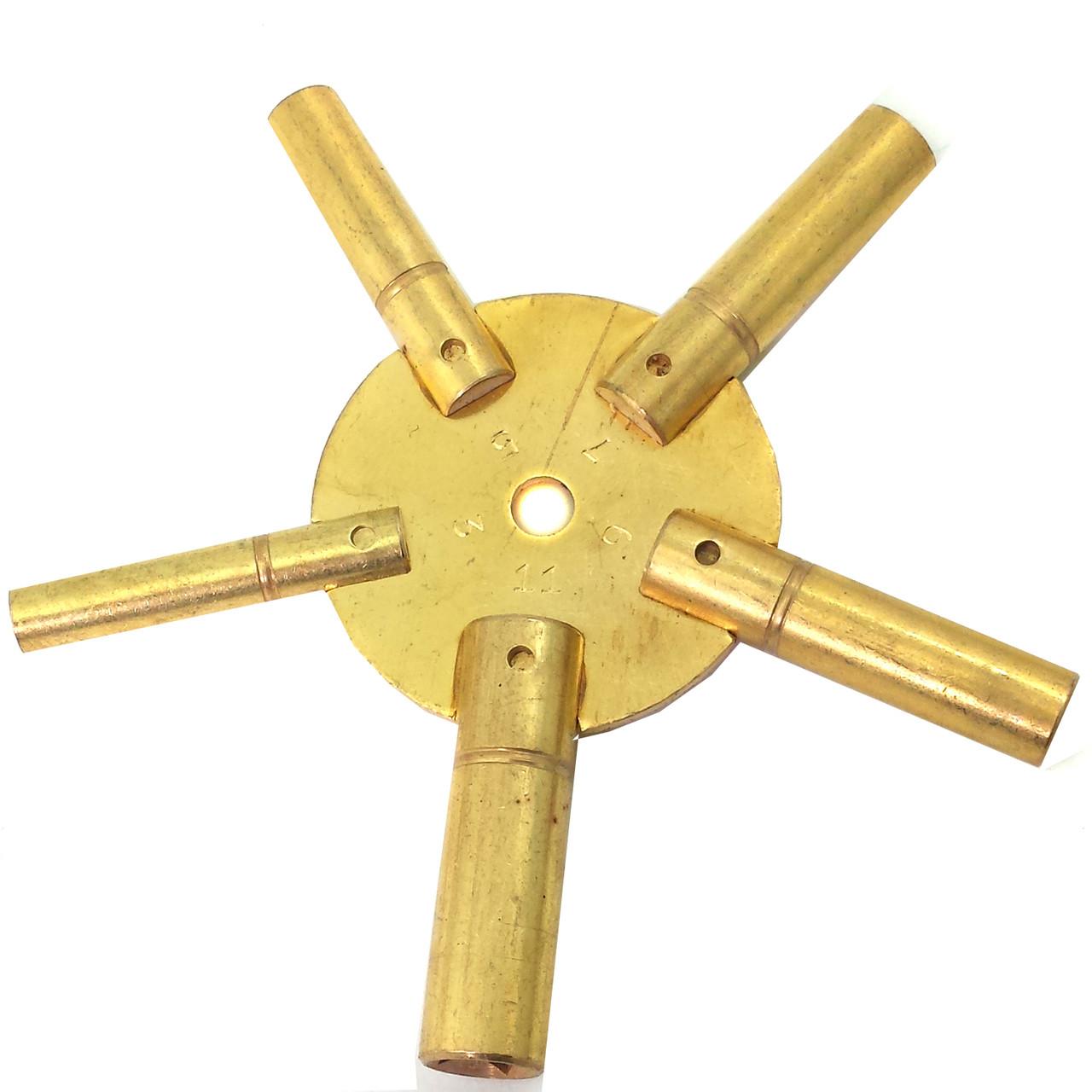 Universal 4 Prong Brass Clock//Watch Key Set Odd /& Even Sizes