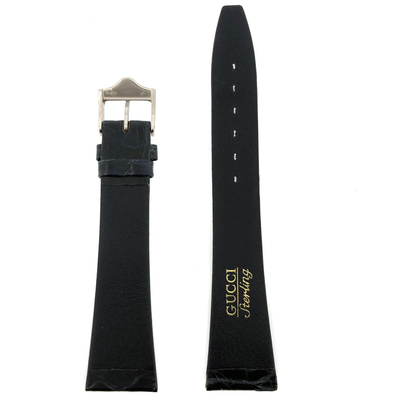 Gucci 4200M Sterling Navy Blue Watch Band Crocodile 19mm