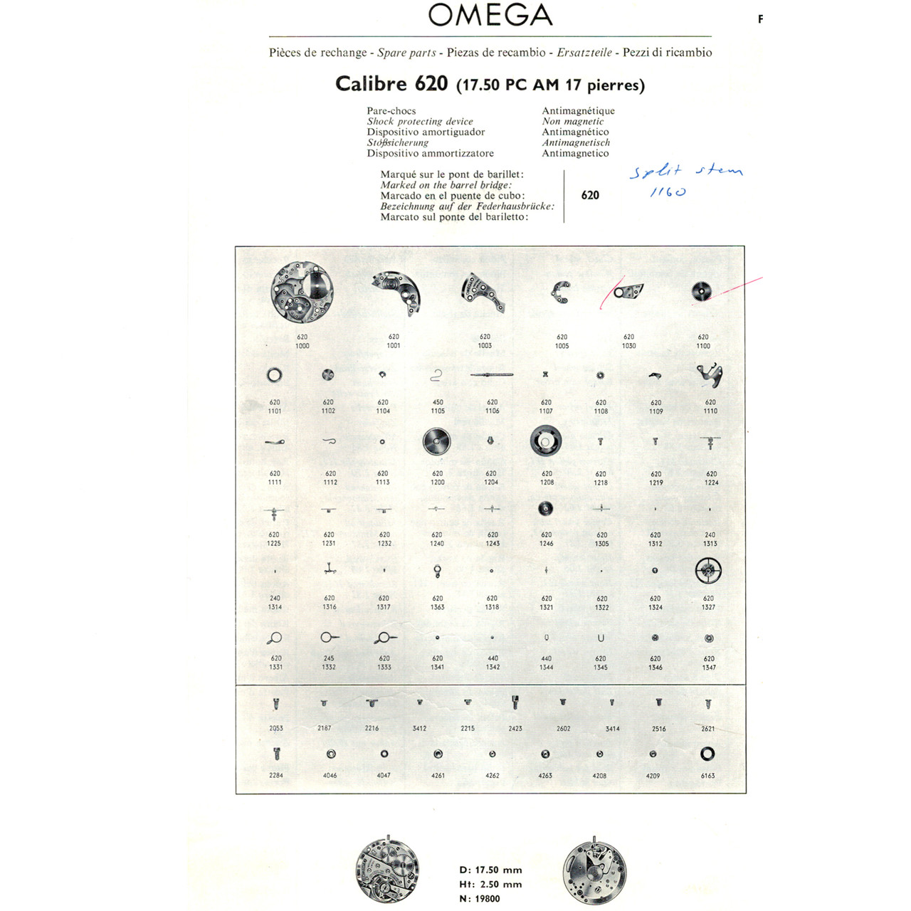 Original Omega Clutch Wheel Caliber 620