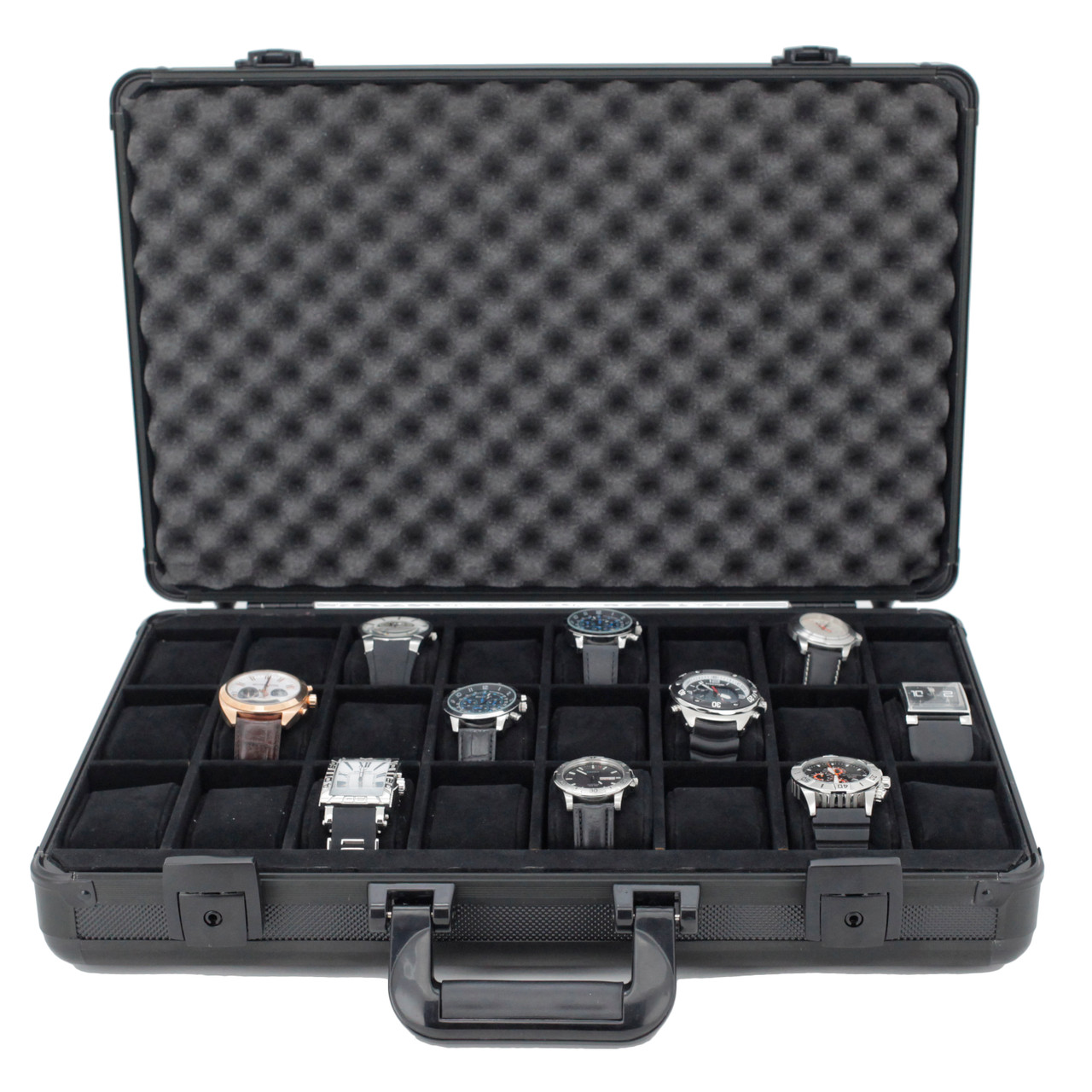 Watch Case Black Aluminum Briefcase Design For 24 Large Watches - Black