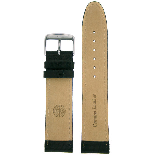 Watch Band Extra Thick Black Padded Genuine Leather Strap