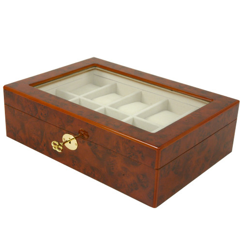 10 Watch Box Clearance Glass Window Large Cushions Burl Wood Key - Main