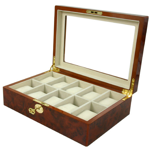 10 Watch Box Clearance Glass Window Large Cushions Burlwood Key